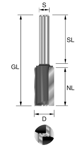 HW-Nutfräser m. GS D=5mm NL=20mm S=8x32mm Z2