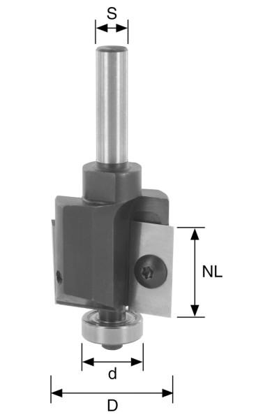 WP-Falzfräser D=26mm NL=19,5mm S=8mm Z2 + KULA