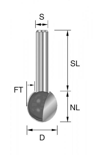 HW-Kugelfräser D=9,5mm NL=8,3mm S=8mm FT=4,75mm