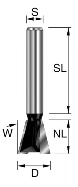HW-Gratfräser D=9,5mm NL=9,5mm S=8x32mm W=12° Z2