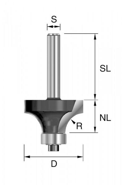 HW-Abrundfräser m. KL R=6,35mm D=25,4mm NL=12,7mm