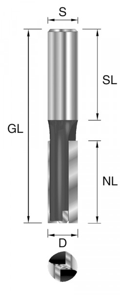 HW-Nutfräser m. GS D=12mm NL=30mm S=12x40mm Z2