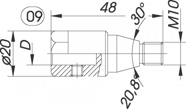 Reduzierfutter f. Dübelbohrer D=10mm AG M10 Konus L