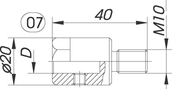 Reduzierfutter f. Dübelbohrer D=10mm AG M10 L