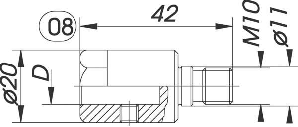 Reduzierfutter f. Dübelbohrer D=10mm AG M10 m.P. L