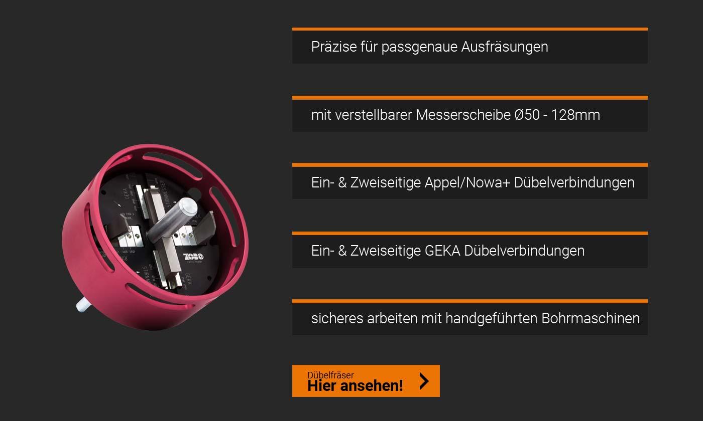 Zobo Dübelfräser Appel nowa+ Geka