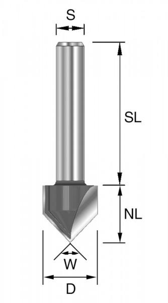 HW-V-Nut-/Schriftenfr. D=6,35mm NL=9,5mm S=12mm