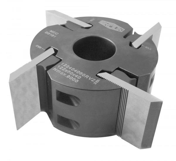 Profilmesserkopf 122x40x40 mm Z4, Stahl für rückenverzahnte Messer