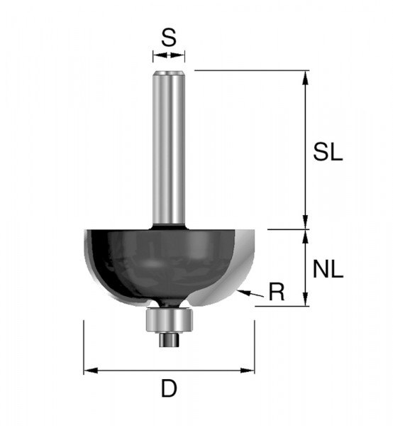 HW-Hohlkehlfr. R=9,5mm D=28,6mm NL=12,7mm S=8mm