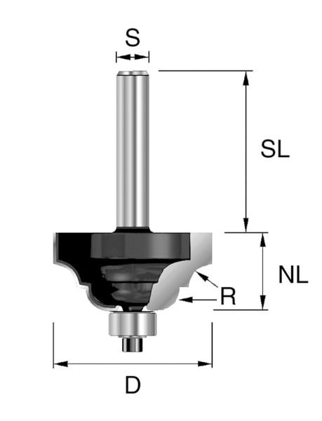 HW-Classic Profilfräser D=25,4mm S=8mm R=3,2mm