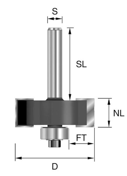 HW-Falzfräser D=34,9mm NL=12,7mm S=8mm Z2