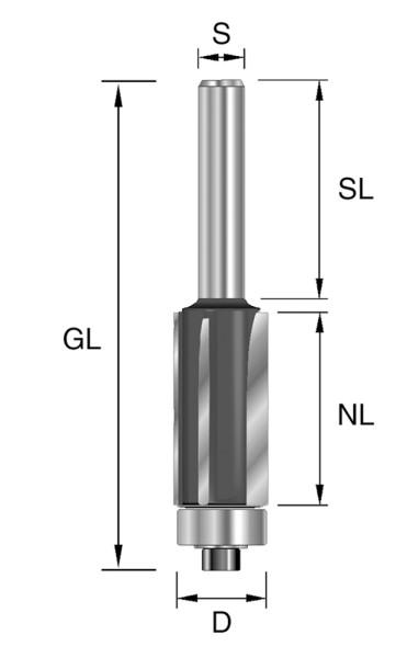HW-Bündigfräser D=12,7mm NL=38,1mm GL=92,5mmS=12mm