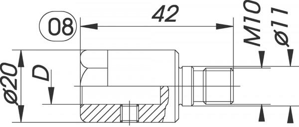 Reduzierfutter f. Dübelbohrer D=10mm AG M10 m.P R