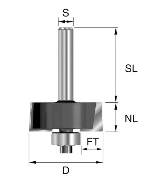 HW-Falzfräser D=31,8mm NL=12,7mm S=8mm Z2