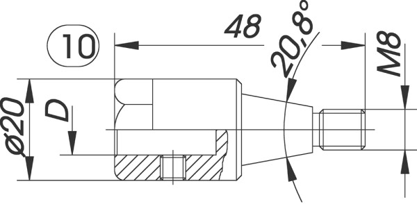 Reduzierfutter f. Dübelbohrer D=10mm AG M8 Konus L