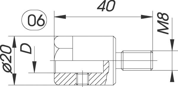 Reduzierfutter f. Dübelbohrer D=10mm AG M8 L