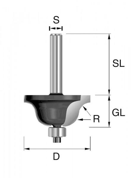 HW-Doppelradiusfräser R=6,35mm D=34,9mm S=8mm
