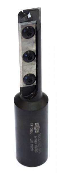 WP-Schaftfräser Z 2 für CNC D=18 mm-links NL=55mm GL=125mm S=20x55mm m.HW-Einbohrs.