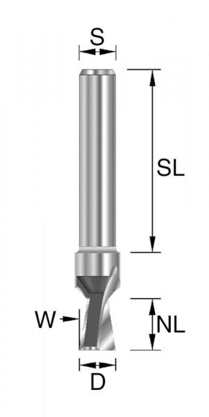 HW-Gratfräser D=12,7mm NL=12,7mm S=8x32mm W=14° Z2