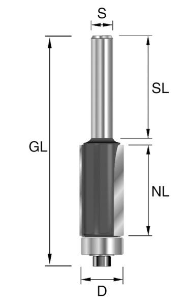 HW-Bündigfräser D=9,5mm NL=25,4mm GL=80mm S=12mm