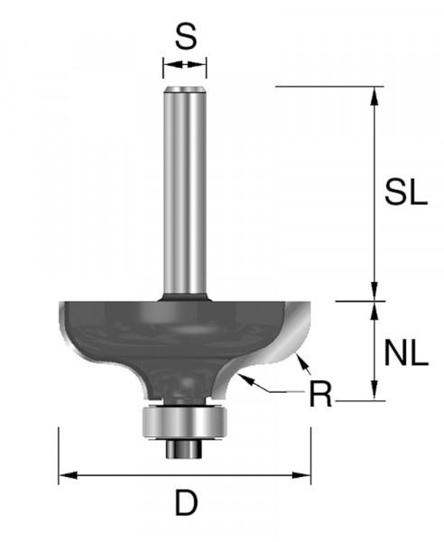 HW-Karnisfräser D=38,1mm NL=17,5mm S=12mm R=6,35mm
