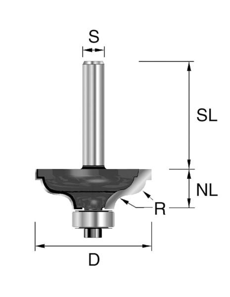 HW-Karnisfräser D=41,3mm NL=17,5mm S=12mm R=6,35mm