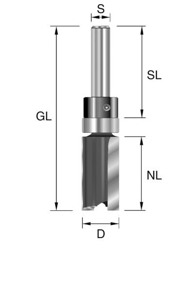 HW-Bündigfräser D=22mm NL=25mm GL=63mm S=8mm