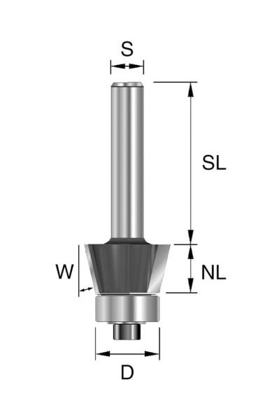 HW-Fasefräser D=19,9mm NL=9,5mm S=8mm W=22°